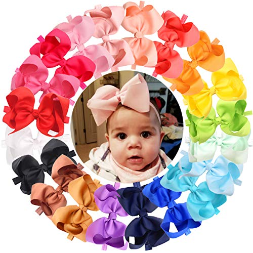 """DED 20Pcs Boutique 6"""" Hiar Bows Baby Girls Soft Headbands Grosgrain Ribbon Big 6 Inch Bowknot for Infant Newborn Toddlers,20 Colors"""