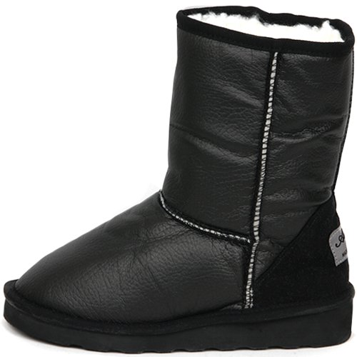 New Shiny Waterproof Shearling Womens Winter Snow Warm Boots Shoes Black 0qdsMaFUz