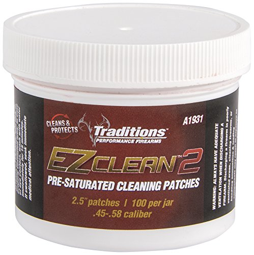 Traditions Cleaning Patches - Traditions Performance Firearms Black Powder EZ Clean 2 100/Jar 2.5-Inch Diameter Pre-Saturated Cleaning Patches