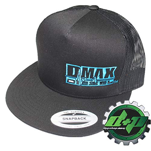 (DMAX Diesel Flat Bill snap Back Trucker Cap hat Ball Summer mesh Chevy Duramax Electric Blue)