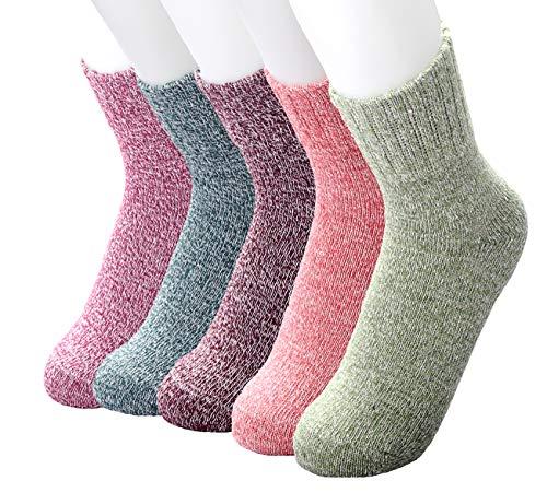 Jeniulet Womens 5 Pairs Winter Warm Thick Wool Comfort Casual Cotton Soft Crew Winter Socks