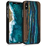 kwmobile Apple iPhone X Wood Case - Non-Slip Natural Solid Hard Wooden Protective Cover for Apple iPhone X