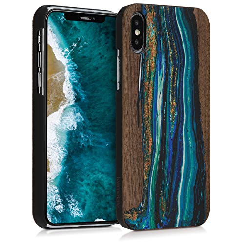 (kwmobile Apple iPhone X Wood Case - Non-Slip Natural Solid Hard Wooden Protective Cover for Apple iPhone X)