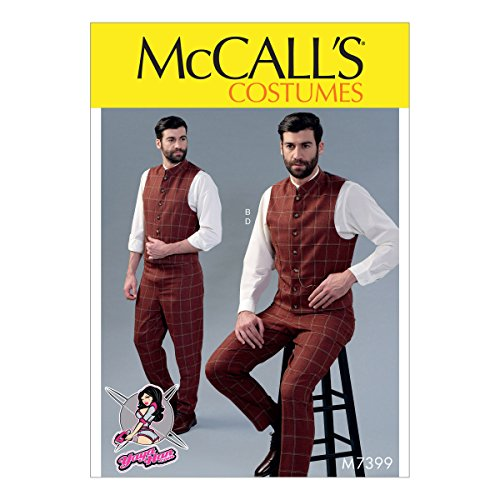 McCall Patterns M7399MQQ Men's Single Or Double-Breasted Vests and Flat-Front Pants