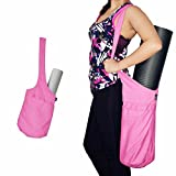 fitter's niche Yoga Mat Bag, Cotton Tote with Large Side Pocket & Zipper Pocket Messenger Shoulder Bag, Free Tote Sling Strap Carrier, Fits Most Size Mats, Perfect for Yogis, Bright Pink Review