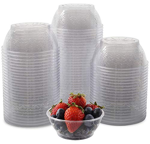 - [100 Pack] 6 Ounce Hard Plastic Dessert Bowls, Small Clear Disposable Serving Dessert Cups.