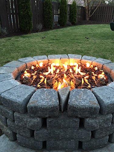 Stanbroil LP Propane Gas Fire Pit Burner Ring Installation Kit, Black Steel, 12-inch