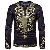 kaifongfu Men Long-Sleeved Round Neck Top with African 6D Print Sweatshirt TopBlackM