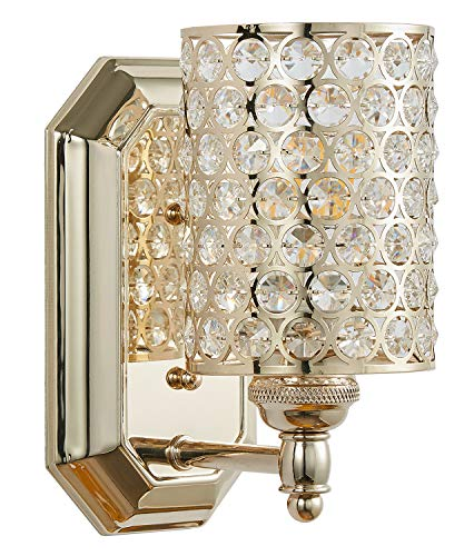 Doraimi 1 Light Crystal Plug in Wall Sconce Lighting with Plating Champagne Finish,Modern and Concise Style Wall Light Fixture with Polyhedral,Bathroom Crystal Light fixtures,LED Bulb(not Include) ()