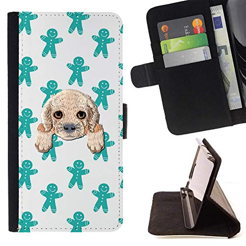 Spaniel Gingerbread - [ Cocker Spaniel ] Embroidered Cute Dog Puppy Leather Wallet Case for LG V30 [ Green Gingerbread Man Pattern ]