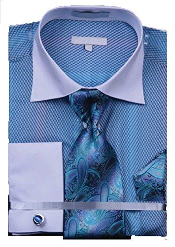 Men`s Grid Stripe 100% Cotton French Cuff Shirt Tie Hanky Cufflinks - Turquoise 18.5 - Shirt Cuff Dress Grid French