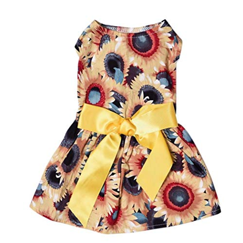 LVYING Pet Summer Clothes Floral Bow Princess Party Dress Small Dog Skirt Puppy Doggy Vest Costume -