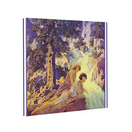 wonbye Canvas Picture Frames Wall Art Canvas/Waterfall - by Maxfield Parrish,for Home Modern Decoration Print, 8 x 8 Inch