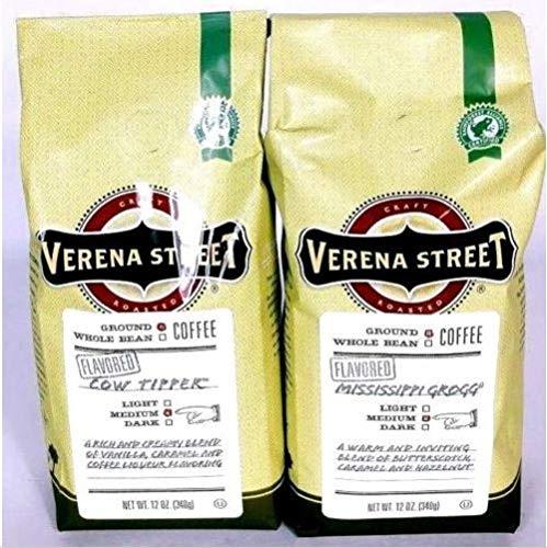 Verena Street 2 Pack 12 oz Flavored Ground Coffee, Cow Tipper, Mississippi Grogg, Medium Roast, Rainforest Alliance Certified Arabica Coffee