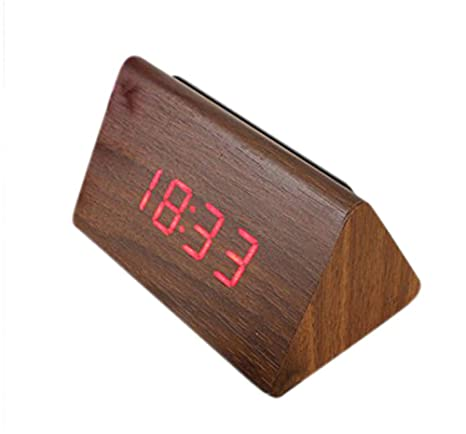 LTOOD Reloj Despertador de Madera LED Digital Temperatura Calendario Reloj Despertador