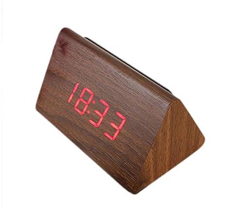 LTOOD Reloj Despertador de Madera LED Digital Temperatura Calendario Reloj Despertador