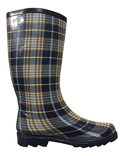 PSW Navy Womens MSTKH Rubber Brown Plaid Rain Boots rqrZgCnfwx
