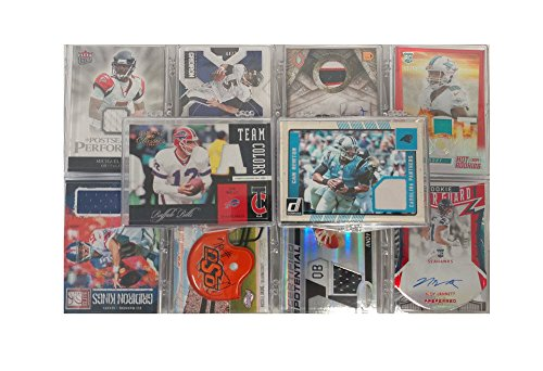 NFL Football Trading Cards Lot Of 10 With Each Card A Game Used Relic Cards Or Autograph In Every (Upper Deck Nfl Box)
