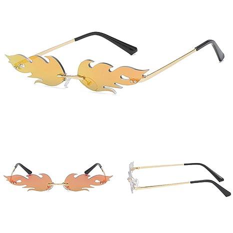 Glomab Gafas de Sol Unisex Flame, Gafas de Sol sin Montura, Wave Gafas de Sol estrechas cumpleaños, la graduación, la Boda o los favores de Partido