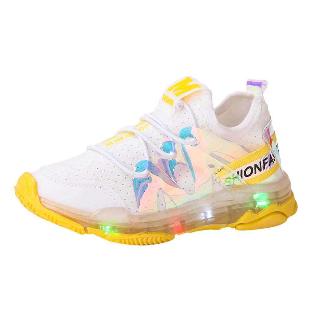 Led Light Shoes Sneakers for 1-6 Years Toddler Kids Baby,Running Soft Luminous Shoes (Recommended Age:18-24Months, Yellow) by sweetnice baby shoes