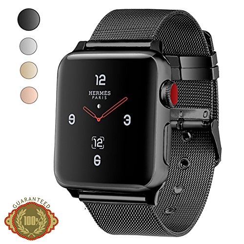 Price comparison product image Apple Watch Band, LWCUS 42MM New Milanese Loop Iwatch Band With Classic Buckle, Gorgeous Apple Watch Accessories for Apple Watch Series 3 Series 2 Series 1, Hermes, Edition, Sport(42MM-Elegant Black)