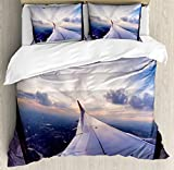 Airplane Decor Queen Size Duvet Cover Set by Ambesonne, Airplane Travel Time is Sunset Business Distant Evening Float Holiday Horizon Journey Window, Decorative 3 Piece Bedding Set with 2 Pillow Shams