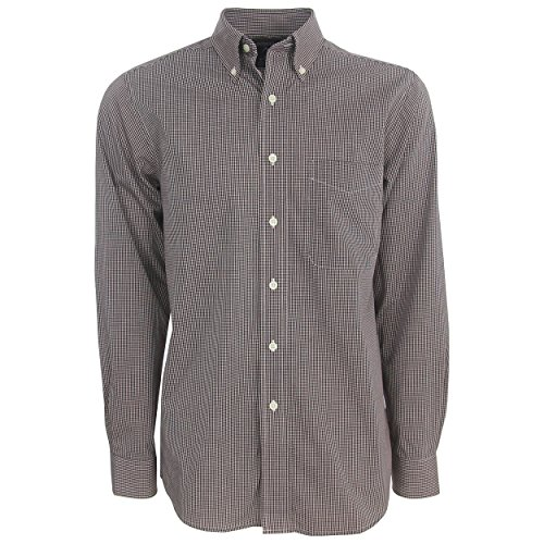 Antigua Purple Classic Shirt - Antigua Golf Focus Mini Check Long-Sleeve Dress Shirt, Medium Maroon