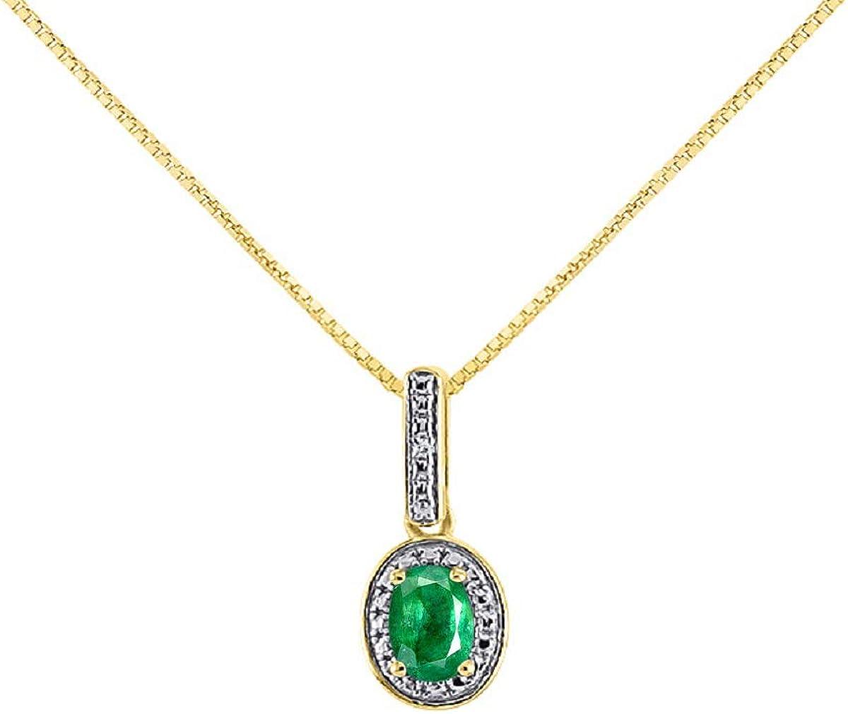 14k Diamond /& Emerald Birthstone Pendant