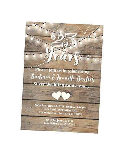 25th Anniversary Invitation, String Of Lights Wedding Anniversary Invite, 25th Anniversary Invite, Rustic Silver Anniversary Invitation ()