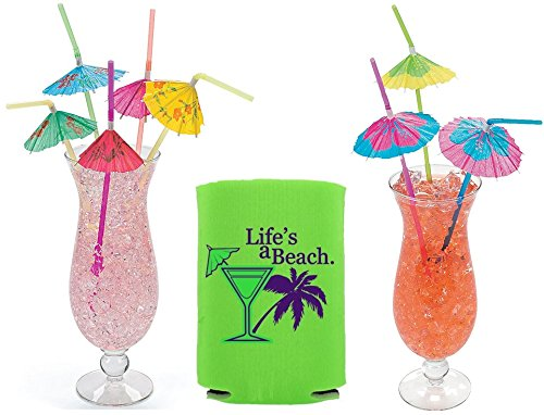 Price comparison product image 72 Tropical Drinking Straws Umbrella Bendable Luau Hawaiian Wedding Bonus Can Cooler