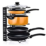 Foccoe Pan Pot Organizer Rack Foldable Lid Holder, 5-Tier Adjustable Cookware Holder for Cabinet Worktop Storage in Kitchen