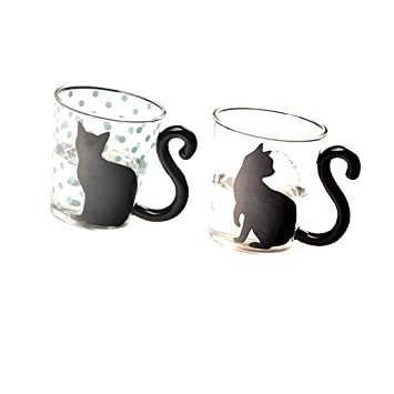 sharplace par taza de cristal Gato Negro Kitty vidrio taza de té animado taza leche café taza cocina regalo 200 - 300 ml: Amazon.es: Hogar