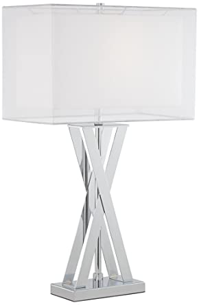 Possini Euro Proxima Double Shade Chrome Table Lamp Amazon Com