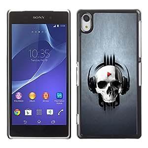 All Phone Most Case / Oferta Especial Duro Teléfono Inteligente PC Cáscara Funda Cubierta de proteccion Caso / Hard Case Sony Xperia Z2 // SKULL MUSIC PLAY