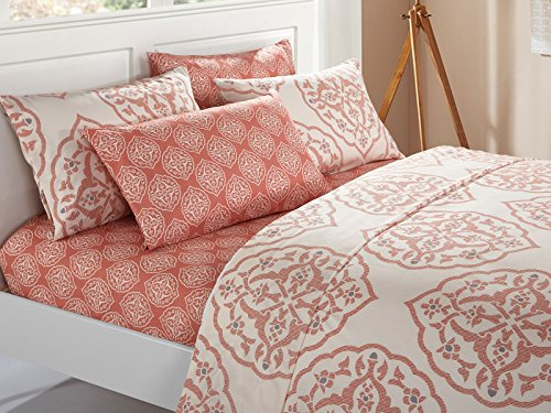 Chic Home 6 Piece Marquis Two-Tone Medallion Print Pattern Design King Sheet Set Brick (Sheets Medallion)