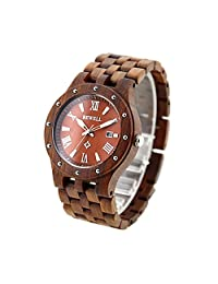 Diamondo Man Calendar Bracelet Quarts Handmade Wooden Business Watch for BEWELL (1#)