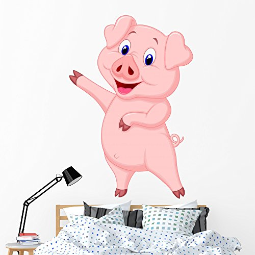 Waving Pig - Cute Pig Cartoon Presenting Wall Decal by Wallmonkeys Peel and Stick Graphic (60 in H x 41 in W) WM15167