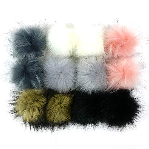 Freyamall 12 Pcs Faux Fox Fur Fluffy Pompom Ball for DIY Beanies Knitting Hats Scarves Bags Shoes Charms Accessories, Mixed Color-SS-SZ-06 from Freyamall