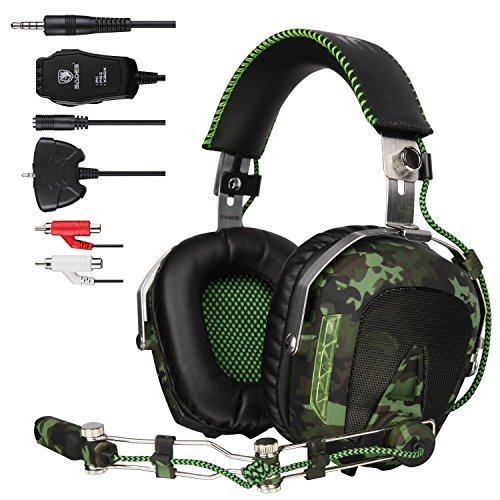 SADES SA926 Helicopter Over Ear PC Gaming Headset Gamer Headphones with Microphone Compatible with PS4 Xbox One Phone Mac Laptop - Army Green by Sades