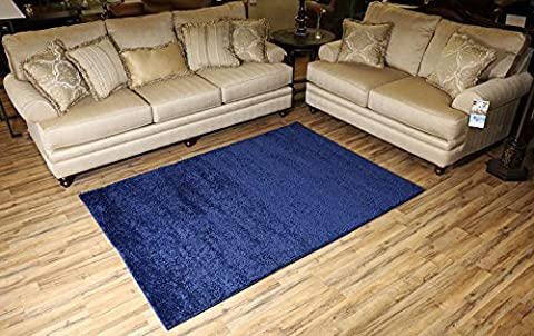SOHO Shaggy Collection Solid Color Shag Area Rug Rugs 7 Color Options (Navy Blue, 5 x 7) (Shag Rug Navy Blue)