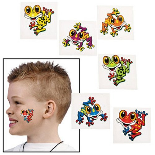 Fun Express Frog Temporary Tattoos Party Favor - 72 Pieces