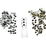 300 Pieces Silver and Gold 3mm Square Metal Studs for Nail Art Crafts