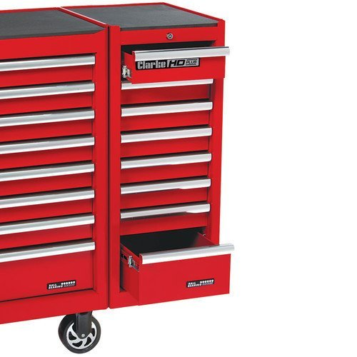 CLARKE TOOL BOX 8 DRAWER SIDE EXTENSION LOCKER RED by Clarke International (Red International Boxes Tool)
