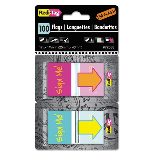 Redi-Tag Sign Me! Pop-Up Fab Flags  with  Dispenser, Magenta/Orange/Teal/Yellow, 100 per Pack (Fab Tag)