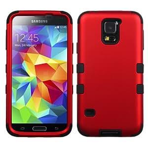 NageBee(TM) - Samsung Galaxy S5 - Design Premium Heavy Duty Defender Hybrid Phone Cover Case (hybrid Titanium Red/Black)