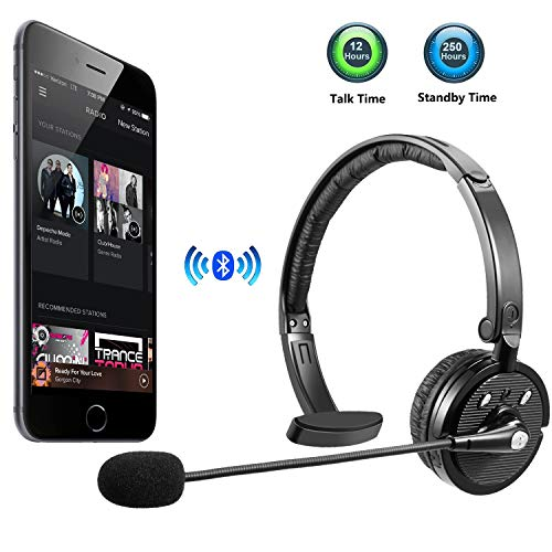 LUXMO Bluetooth Headset, Trucker Wireless Headset with Microphone, Rechargeable Noise Cancellation Clear Sound Office Wireless Headphone for iPhone Android Cell Phone, Skype, Truck Driver, Call Center (Best Mobile Phone For Skype)
