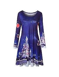 FarJing Christmas Dress, Women Vintage Christmas Printing Round Neck Party Dress