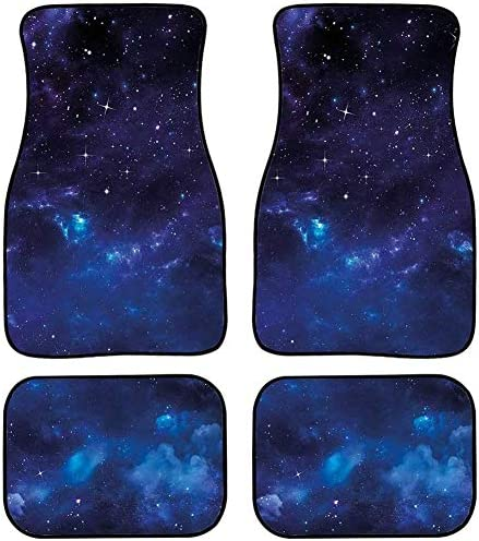 TOADDMOS Blue Nebula Space Galaxy 2-Piece Car Front Floor Mats Carpet,All Weather Protection Universal Fit