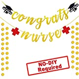 Congrats Nurse Banner Nurse Graduation Party Decorations Gold Red Glitter 2019 Graduation Medical School Hospital Party Supplies Favor