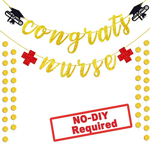 TMCCE Congrats Nurse Banner Nurse Graduation Party Decorations Gold Red Glitter Graduation Medical School Hospital Party Supplies